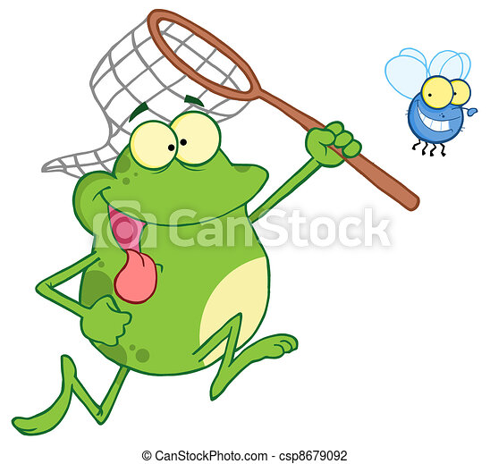 Frog Chasing Fly With A Net - csp8679092