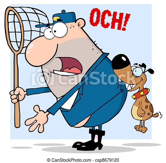 Dog Biting A Dog Catcher - csp8679120