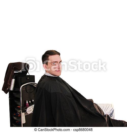 happier man in hairdressing salon - csp8680048