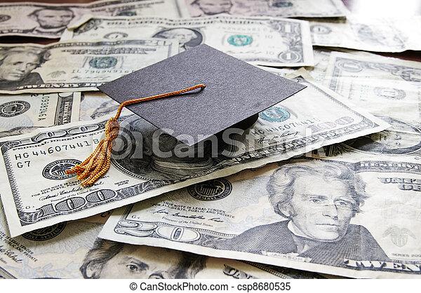 mini college graduation cap on cash - csp8680535