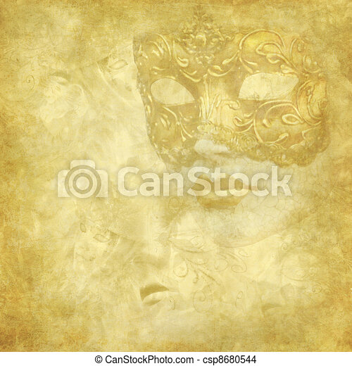 Golden Venetian mask on floral grunge texture - csp8680544