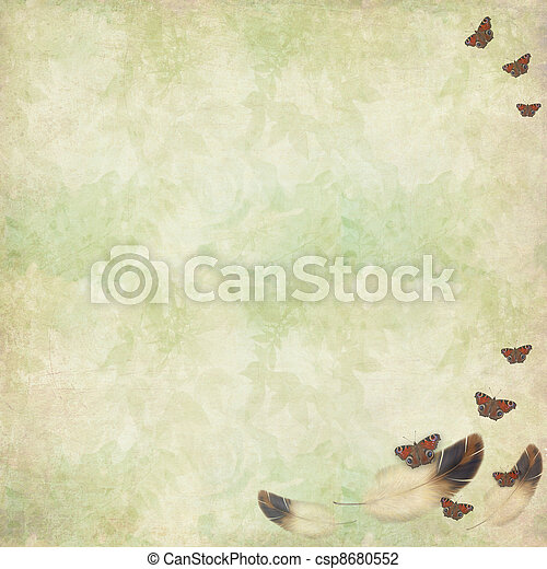 feathers and butterflies flying on a floral vintage background - csp8680552