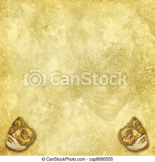 Venetian masks golden background - csp8680555