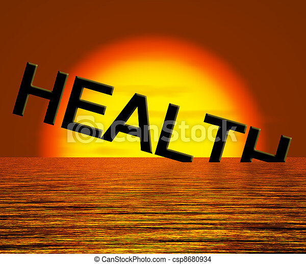 Health Word Sinking Showing Unhealthy Or Sick Condition - csp8680934