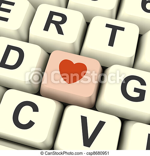 Heart On Pink Computer Key Showing Love And Romance For Valentines Day - csp8680951