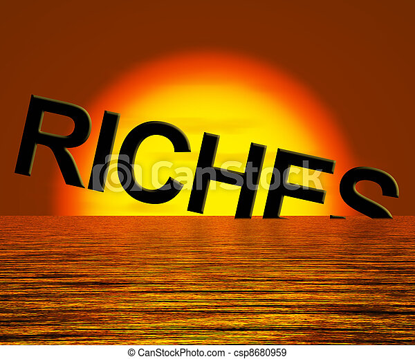 Riches Word Sinking Showing Difficulty Getting Rich - csp8680959