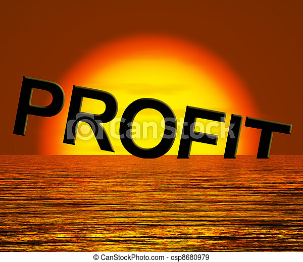 Profit Letters Sinking As Symbol for Unprofitable Business And Failure - csp8680979
