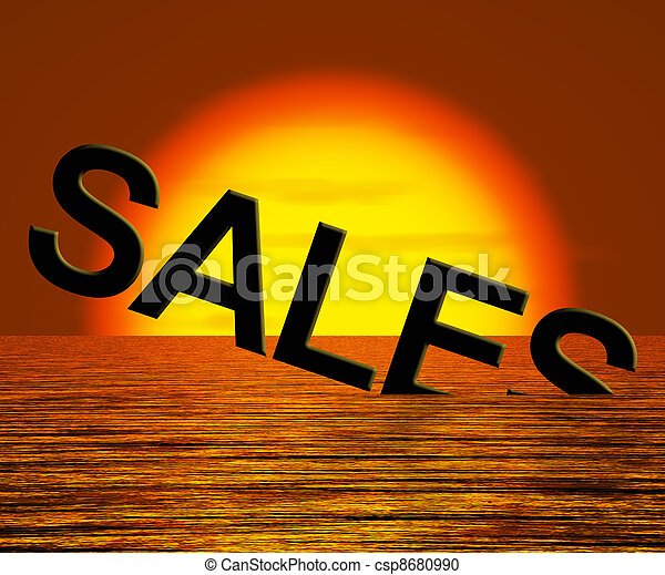 Sales Word Sinking Showing Reduced Income And Profit - csp8680990
