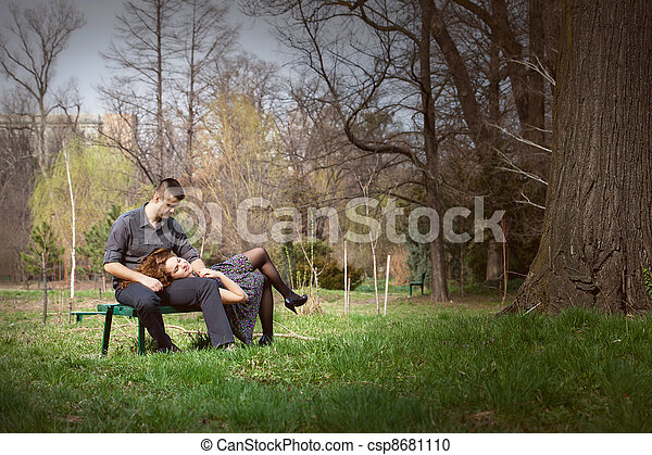 Sensual serene couple on bench - csp8681110