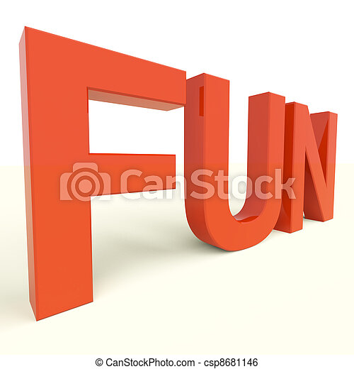 Fun Word In Plastic Letters For Enjoyment And Happiness - csp8681146