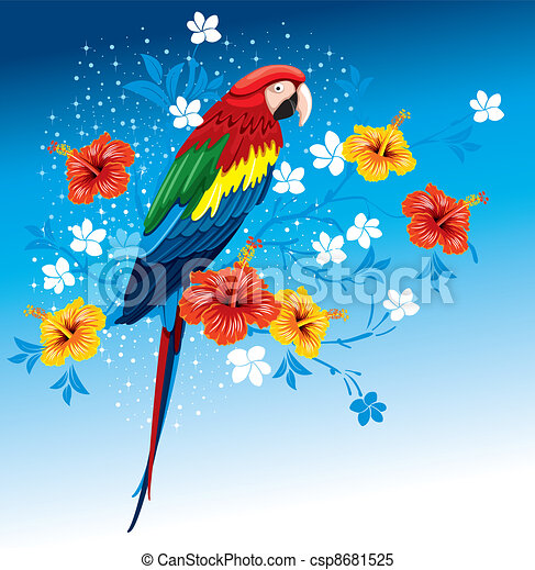 Parrot and tropical flowers - csp8681525