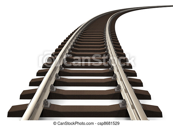 Curved railroad track - csp8681529