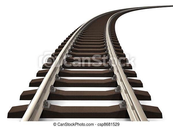 Curved railroad track - csp8681529