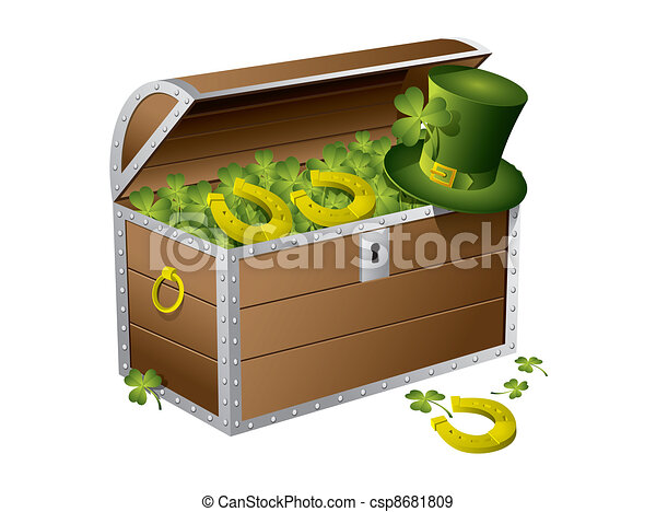 St Patrick day treasure chest - csp8681809