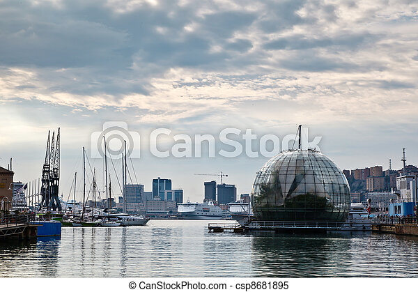Glasshouse Over the Water and Genoa Port, Italy - csp8681895