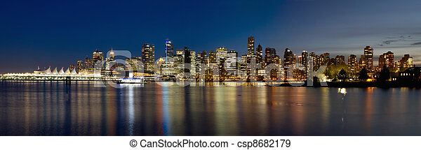 Vancouver BC Skyline from Stanley Park during Blue Hour - csp8682179