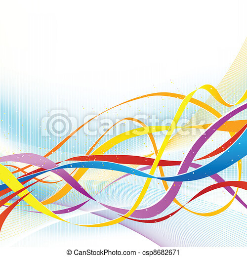 Abstract colorful ribbons flowing on soft blue background. - csp8682671