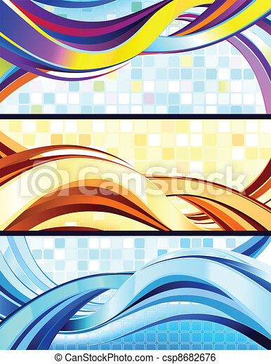 Stylish flowing abstract banners. - csp8682676