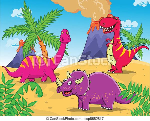 Illustrations vectoris es de dinosaure dessin anim - Dinosaure dessin anime disney ...