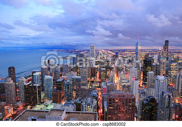 Chicago skyline panorama aerial view - csp8683002