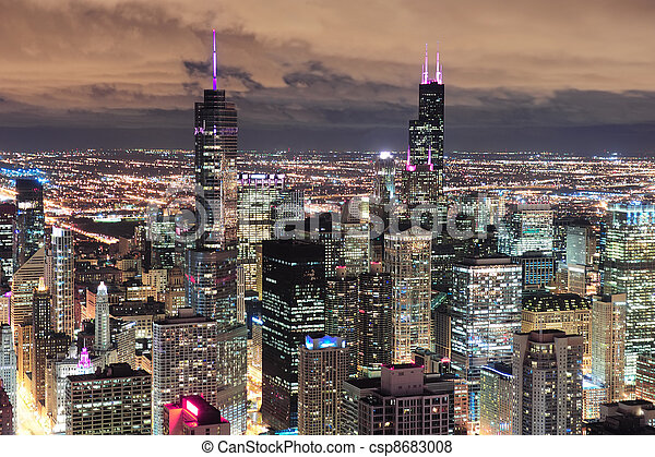 Chicago Urban aerial view at dusk - csp8683008