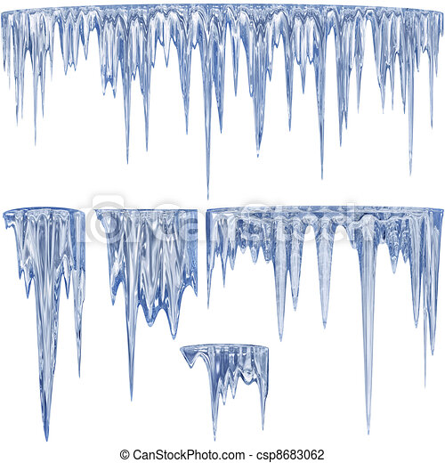 Blue thawing icicles - csp8683062