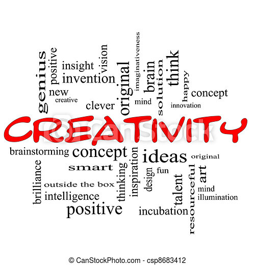 Creativity Word Cloud Concept Red Black - csp8683412