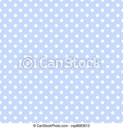 White Polka Dots on Pale Blue - csp8683613