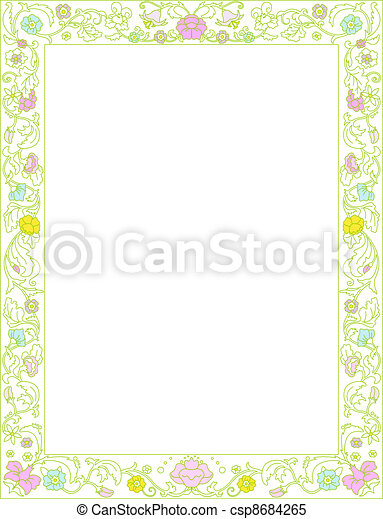 Spring frame  with flowers   - csp8684265