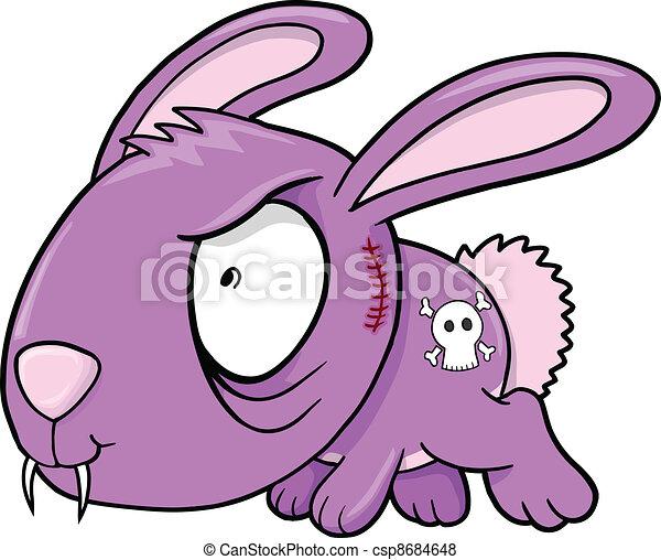Crazy Evil Bunny Rabbit vector - csp8684648
