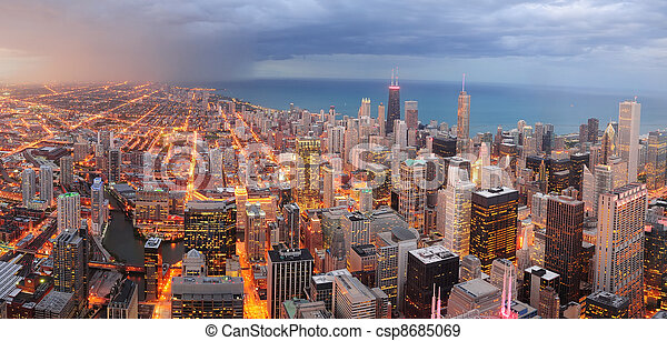 Chicago downtown aerial panorama - csp8685069