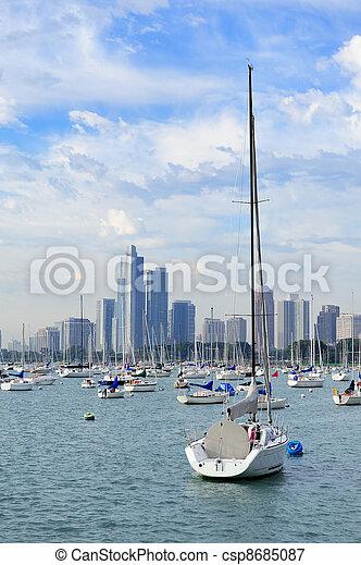 Chicago and Lake Michigan - csp8685087
