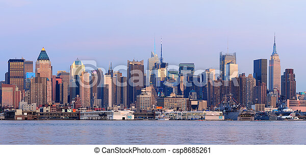 New York City Manhattan sunset pano - csp8685261