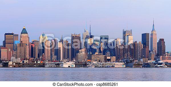 New York City Manhattan sunset pano - csp8685261