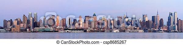 Urban City skyline panorama at dusk - csp8685267