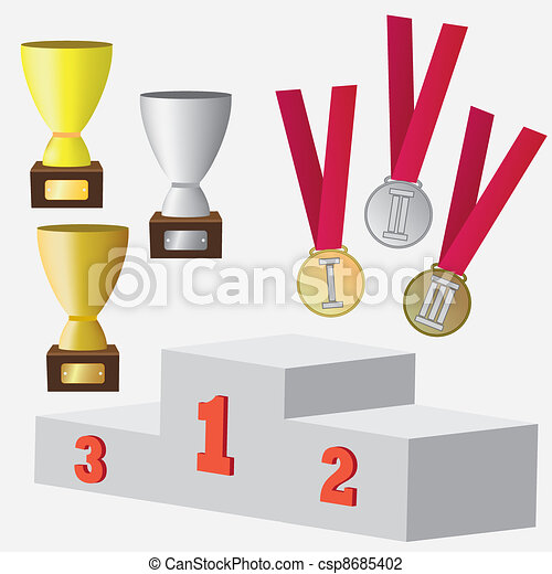 Set of medals and cup for awards. - csp8685402