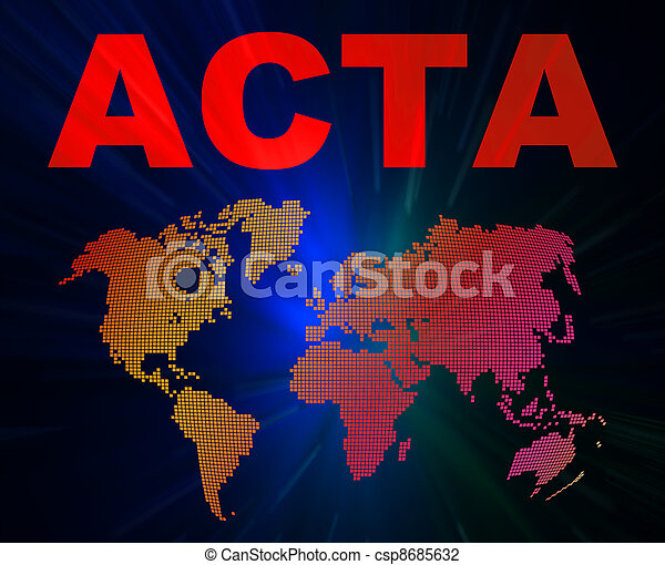 ACTA conception texts and world map - csp8685632