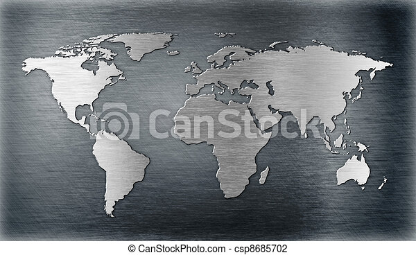 world map relief or shape on metal plate - csp8685702