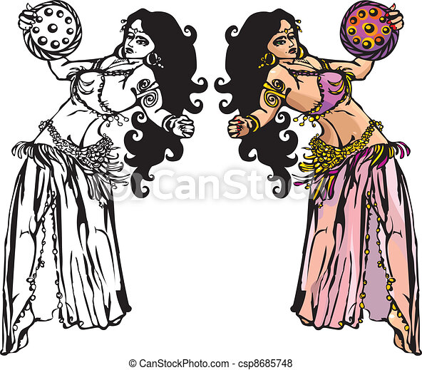 belly dance with tambourine - csp8685748