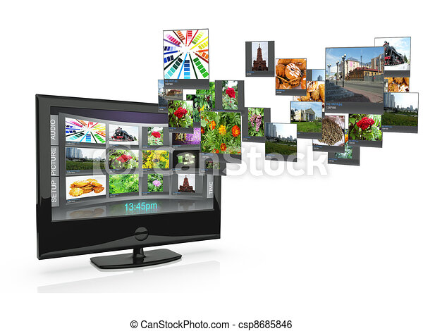 3d an illustration: the TV with pictures costs on a white background - csp8685846
