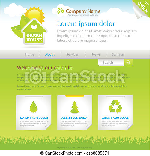 Green House. Web site design template - csp8685871