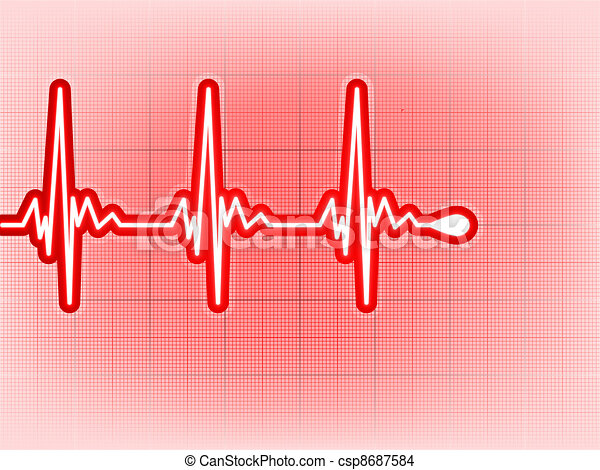 Heart cardiogram with shadow on it deep red. EPS 8 - csp8687584