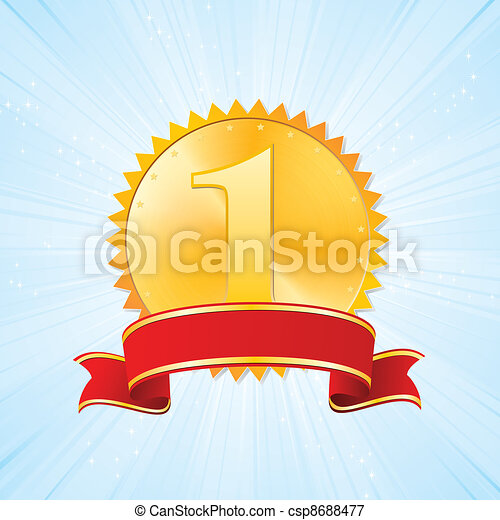 golden award on strip blue background - csp8688477