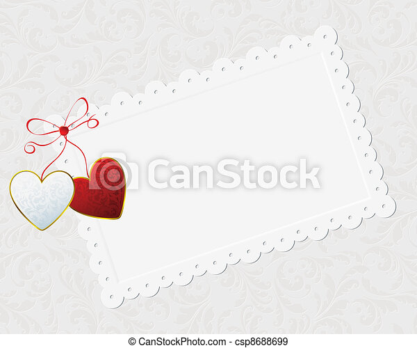 couple of hearts and congratulation card - csp8688699