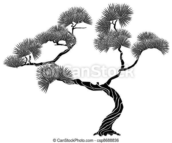 silhouette on tree pine - csp8688836