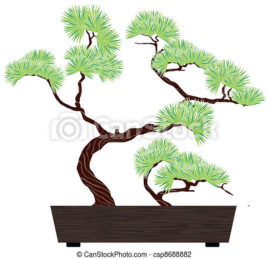 Illustration vecteur de bonsai arbre pin bonsai vert - Dessin bonzai ...