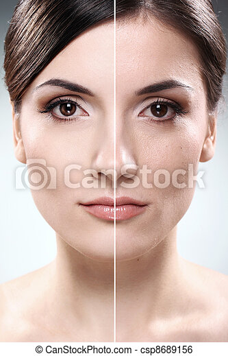 Face of  woman before and after retouch - csp8689156