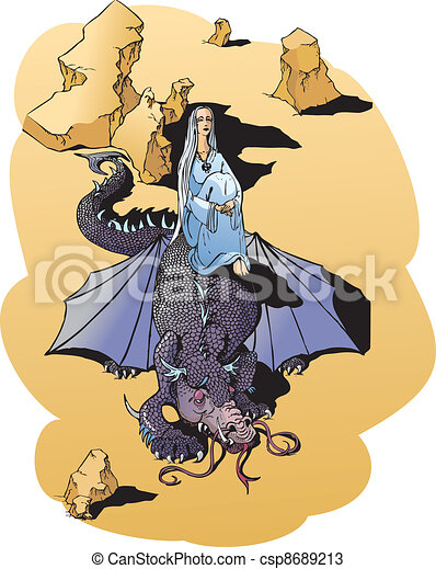Vectors of dragon and wizard meeting - illustration for fantasy ...
