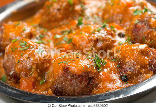 meatballs in tomato sauce on a plate - csp8689502