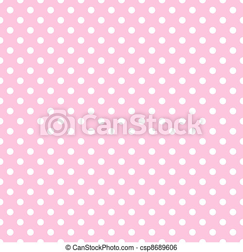 White Polka Dots on Pale Pink - csp8689606
